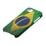 Bandera de madera vieja del Brasil iPhone 5 Case-Mate Fundas