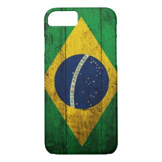 Bandera de madera vieja del Brasil Funda iPhone 7