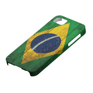 Bandera de madera vieja del Brasil Funda Para iPhone SE/5/5s