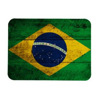 Bandera de madera vieja del Brasil Imán