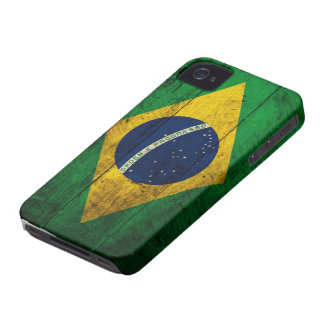 Bandera de madera vieja del Brasil iPhone 4 Case-Mate Carcasas