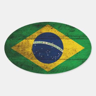 Bandera de madera vieja del Brasil Pegatina Ovalada
