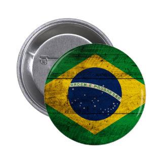 Bandera de madera vieja del Brasil Pin Redondo 5 Cm
