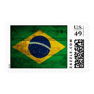 Bandera de madera vieja del Brasil Sello Postal