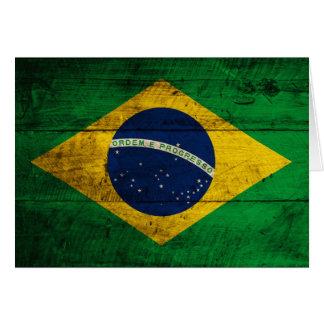 Bandera de madera vieja del Brasil Tarjeta Pequeña
