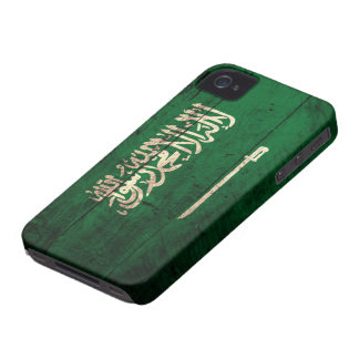 Bandera de madera vieja del saudí iPhone 4 Case-Mate protectores