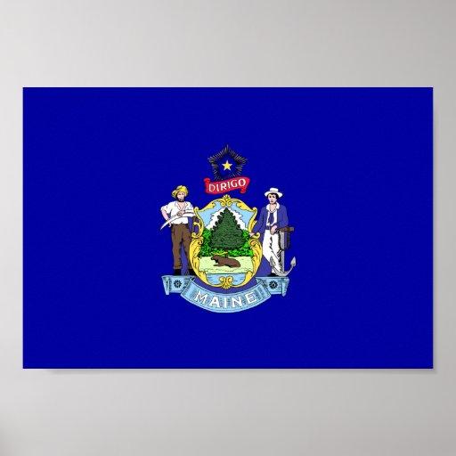 Bandera de Maine Póster