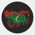 Bandera de Maldivas Etiquetas Redondas