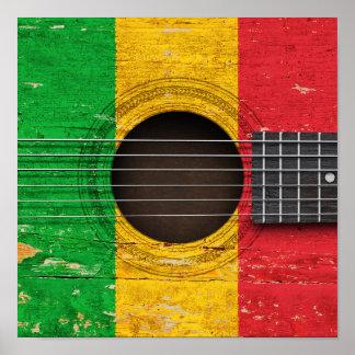 Bandera de Malí en la guitarra acústica vieja Posters