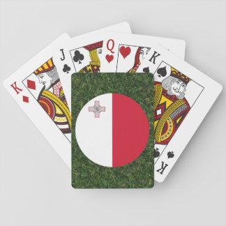 Bandera de Malta en hierba Baraja De Póquer