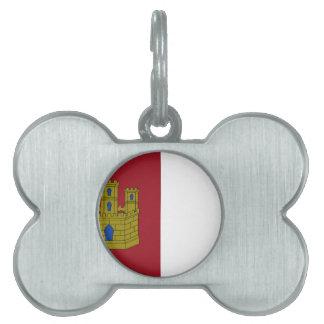 Bandera de Mancha del La de Castilla (España) Placas De Nombre De Mascota