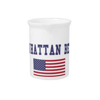 Bandera de Manhattan Beach los E.E.U.U. Jarrón