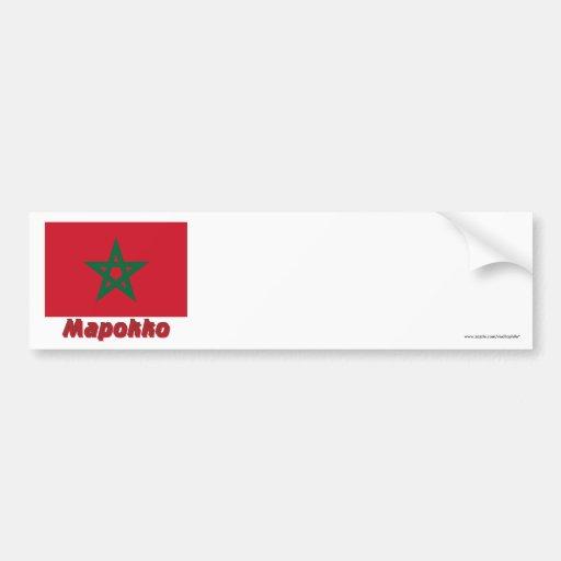 Bandera de Marruecos con nombre en ruso Etiqueta De Parachoque