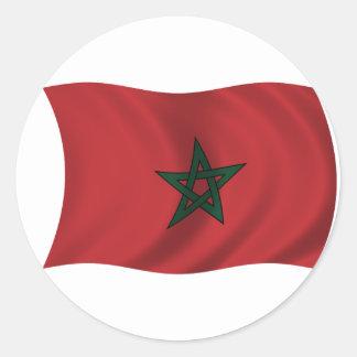 Bandera de Marruecos Pegatina Redonda
