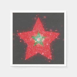 Bandera de Marruecos que brilla Servilleta Desechable