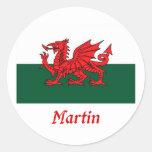 Bandera de Martin Galés Etiqueta Redonda