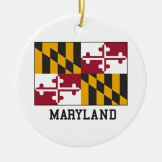 Bandera de Maryland Adorno Navideño Redondo De Cerámica