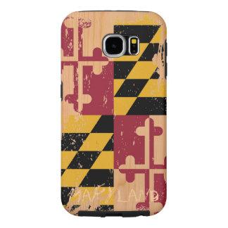 Bandera de Maryland del Grunge en la madera Fundas Samsung Galaxy S6