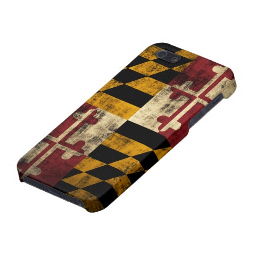 Bandera de Maryland del Grunge iPhone 5 Cárcasas