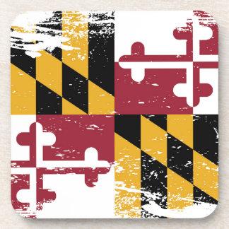 Bandera de Maryland del Grunge Posavasos De Bebidas