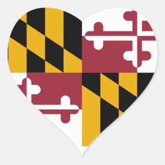 Bandera de Maryland Pegatina En Forma De Corazón