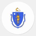 Bandera de Massachusetts Etiquetas Redondas