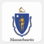 Bandera de Massachusetts Pegatina Cuadradas Personalizadas