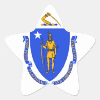 Bandera de Massachusetts Pegatina En Forma De Estrella