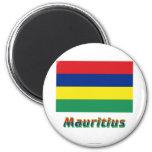Bandera de Mauricio con nombre Imán De Nevera
