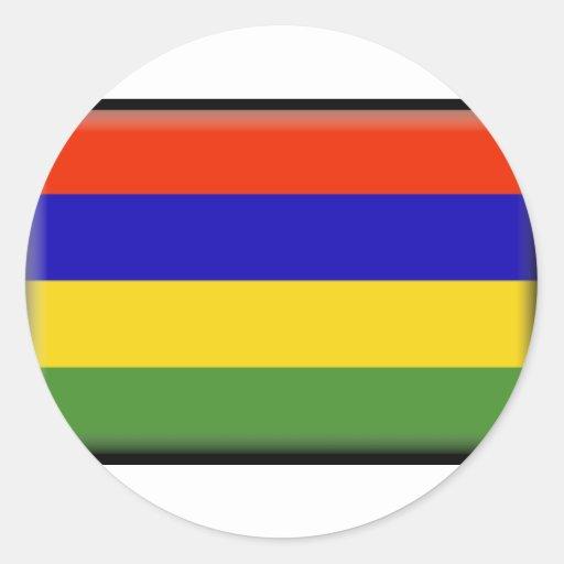 Bandera de Mauricio Etiqueta Redonda