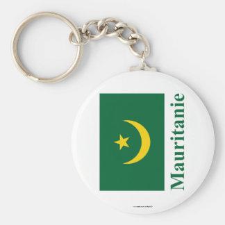 Bandera de Mauritania con nombre en francés Llaveros