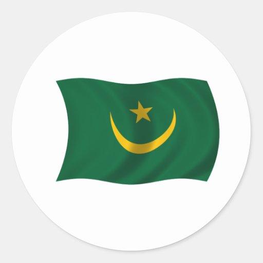 Bandera de Mauritania Etiqueta Redonda