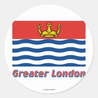 Bandera de mayor Londres con nombre Pegatina Redonda