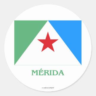 Bandera de Mérida con nombre Pegatina Redonda