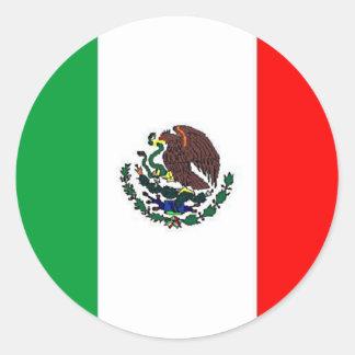 BANDERA DE MÉXICO - BANDERA MEXICANA NACIONAL ETIQUETA REDONDA