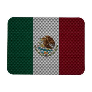 Bandera de México con efecto de la fibra de carbon Imanes Rectangulares