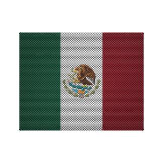 Bandera de México con efecto de la fibra de carbon Lienzo Envuelto Para Galerías