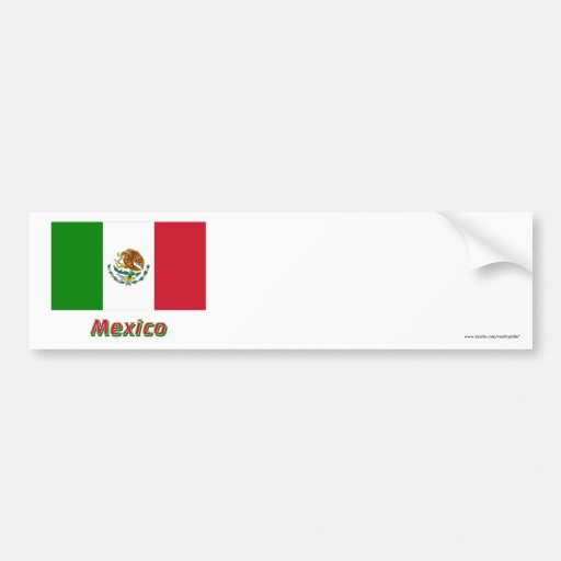 Bandera de México con nombre Pegatina De Parachoque