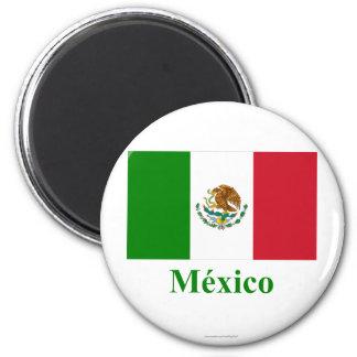 Bandera de México con nombre en español Imán Redondo 5 Cm