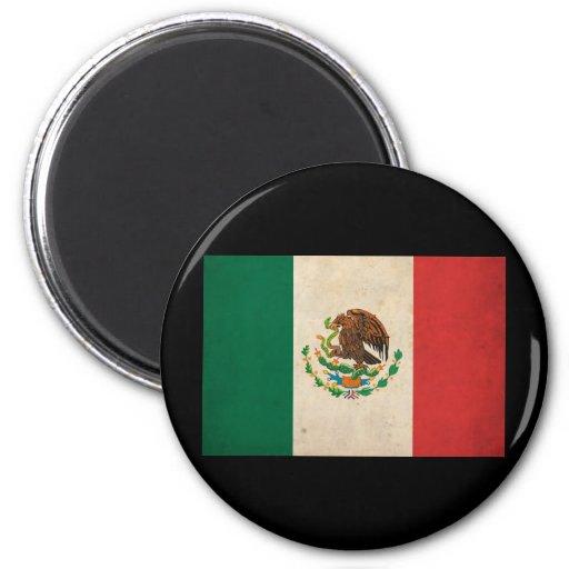 Bandera de México del vintage Imán Redondo 5 Cm