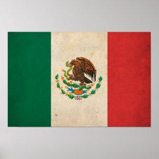 Bandera de México del vintage Póster