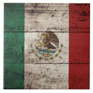 Bandera de México en grano de madera viejo Azulejo Cuadrado Grande