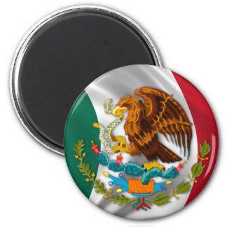 Bandera de México, escudo de armas Imán Redondo 5 Cm