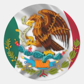 Bandera de México, escudo de armas Pegatina Redonda