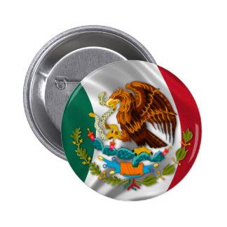 Bandera de México, escudo de armas Pin Redondo 5 Cm