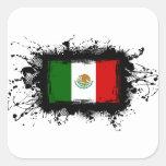 Bandera de México Calcomanía Cuadradas Personalizada