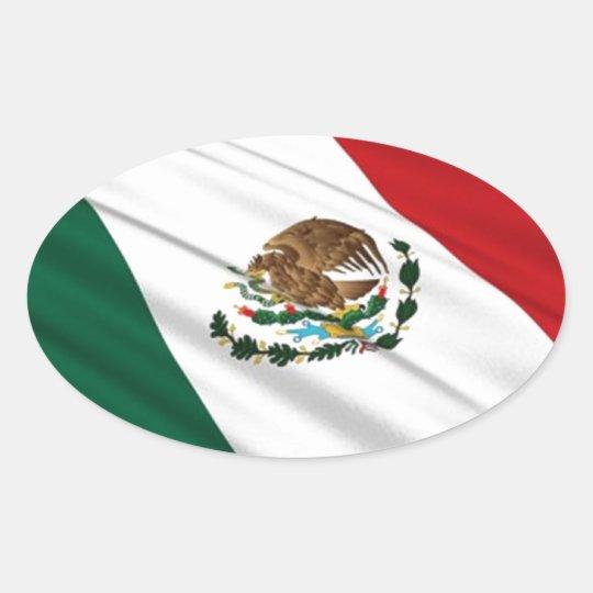 Bandera de México Pegatina Ovalada