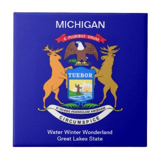 Bandera de Michigan Azulejo Cuadrado Pequeño