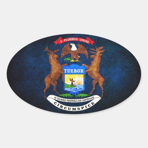 Bandera de Michigan Calcomania Oval