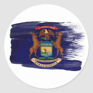 Bandera de Michigan Etiquetas Redondas